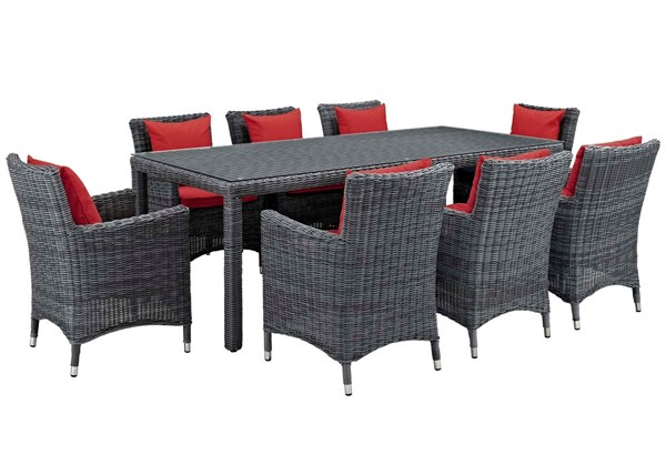 Modway Furniture Summon Red 9pc Outdoor Sunbrella Dining Set EEI-2331-GRY-RED-SET