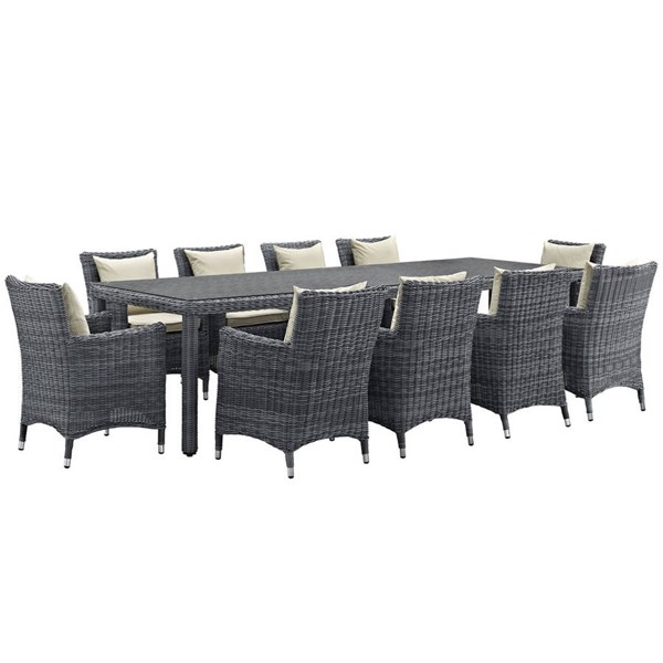 Modway Furniture Summon 11pc Outdoor Sunbrella Dining Sets EEI-2332-PO-DS-VAR
