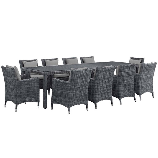 Modway Furniture Summon Gray 11pc Outdoor Sunbrella Dining Set EEI-2332-GRY-GRY-SET