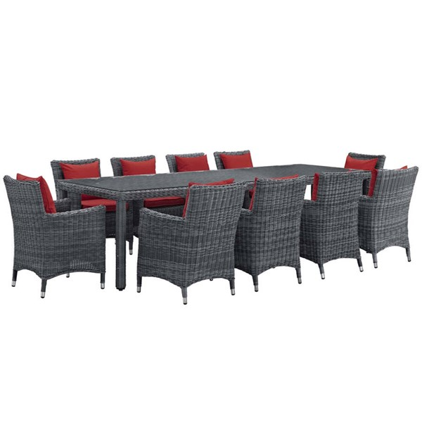 Modway Furniture Summon Red 11pc Outdoor Sunbrella Dining Set EEI-2332-GRY-RED-SET