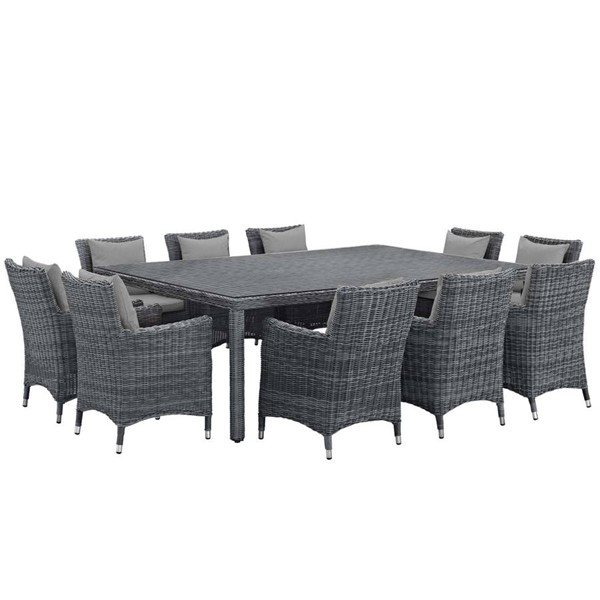 Modway Furniture Summon Gray Fabric 11pc Outdoor Sunbrella Dining Set EEI-2333-GRY-GRY-SET
