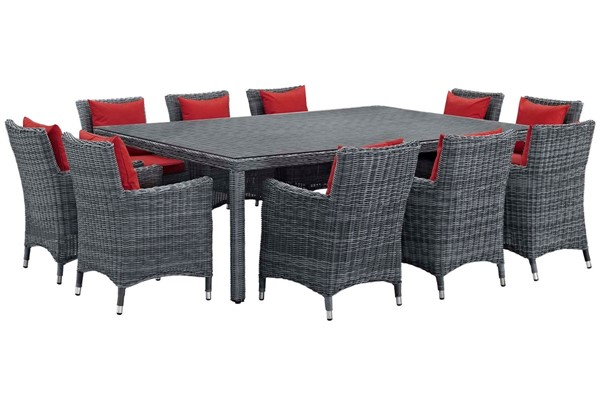 Modway Furniture Summon Red Fabric 11pc Outdoor Sunbrella Dining Set EEI-2333-GRY-RED-SET