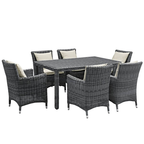 Modway Furniture Summon Beige 7pc Outdoor Dining Set EEI-2334-GRY-BEI-SET
