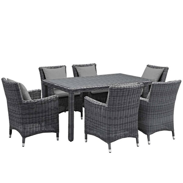 Modway Furniture Summon Gray Fabric 7pc Outdoor Sunbrella Dining Set EEI-2334-GRY-GRY-SET