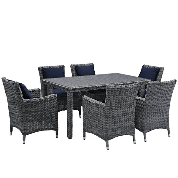 Modway Furniture Summon Navy Fabric 7pc Outdoor Sunbrella Dining Set EEI-2334-GRY-NAV-SET