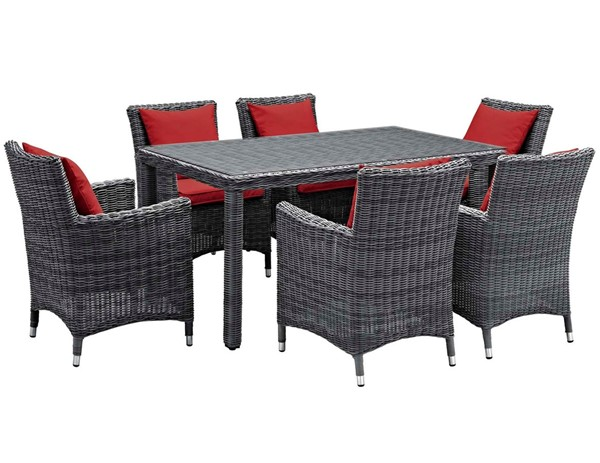 Modway Furniture Summon Red Fabric 7pc Outdoor Sunbrella Dining Set EEI-2334-GRY-RED-SET