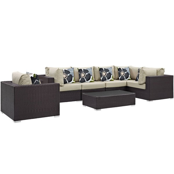 Modway Furniture Convene Espresso 7pc Outdoor Patio Sectional Sets EEI-2350-EXP-SET-VAR