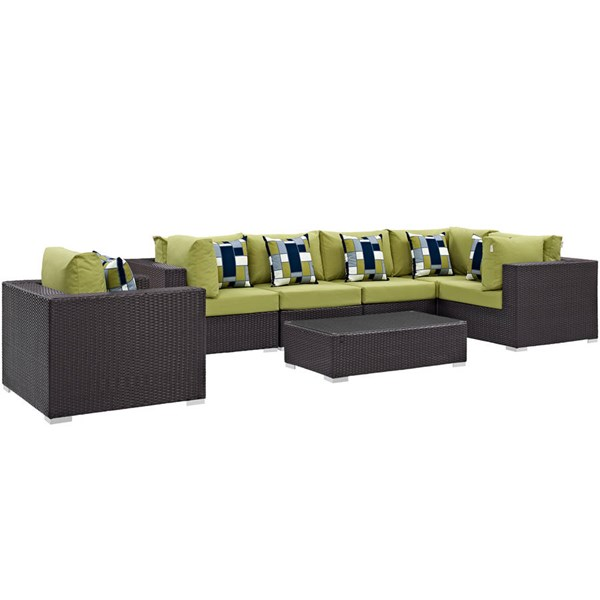 Modway Furniture Convene Espresso Peridot 7pc Outdoor Sectional Set EEI-2350-EXP-PER-SET