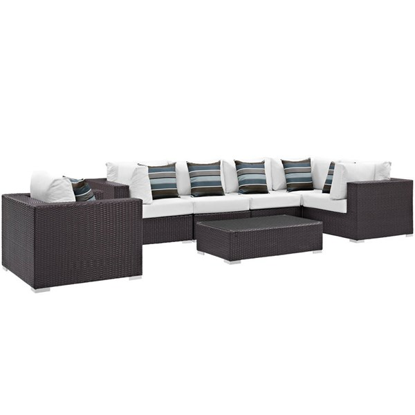 Modway Furniture Convene Espresso White 7pc Outdoor Sectional Set EEI-2350-EXP-WHI-SET