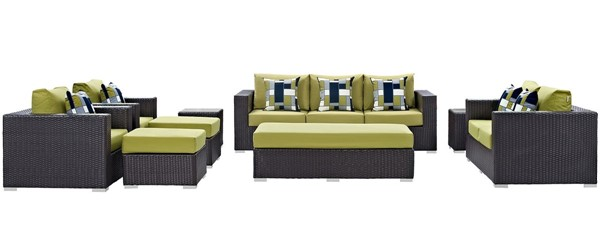 Modway Furniture Convene Espresso Peridot 9pc Outdoor Sofa Set EEI-2354-EXP-PER-SET