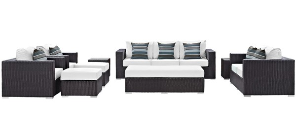 Modway Furniture Convene Espresso White 9pc Outdoor Sofa Set EEI-2354-EXP-WHI-SET