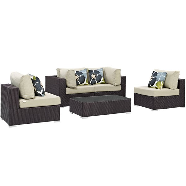 Modway Furniture Convene Espresso 5pc Outdoor Patio Sectionals EEI-2356-EXP-SET-VAR