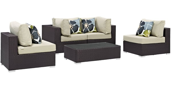 Modway Furniture Convene Espresso Beige 5pc Outdoor Sectional EEI-2356-EXP-BEI-SET