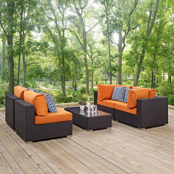 Modway Furniture Convene Espresso Orange 5pc Outdoor Sectional EEI-2356-EXP-ORA-SET