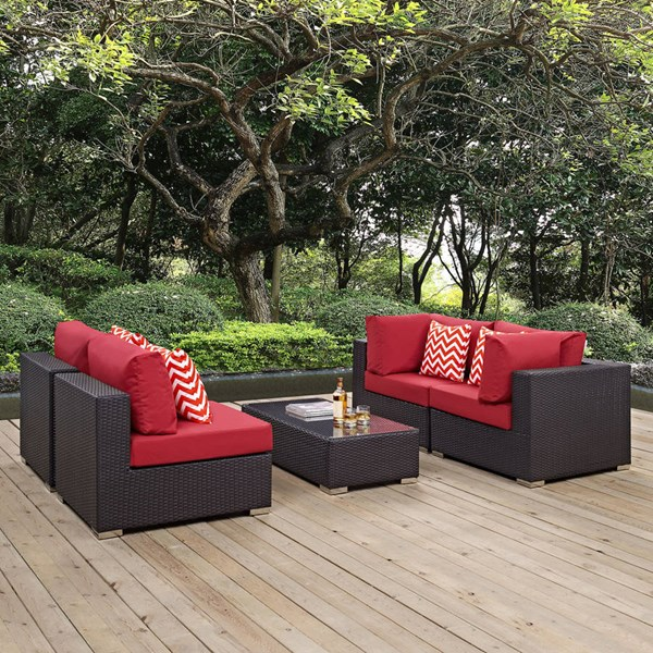 Modway Furniture Convene Espresso Red 5pc Outdoor Sectional EEI-2356-EXP-RED-SET