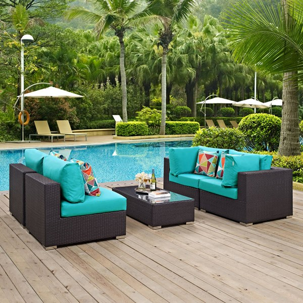 Modway Furniture Convene Espresso Turquoise 5pc Outdoor Sectional EEI-2356-EXP-TRQ-SET