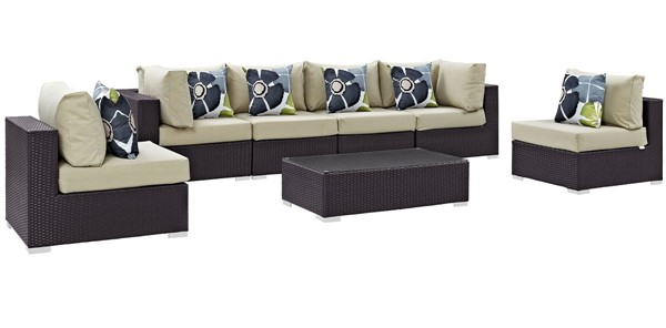 Modway Furniture Convene Espresso Beige 7pc Outdoor Sectional EEI-2357-EXP-BEI-SET