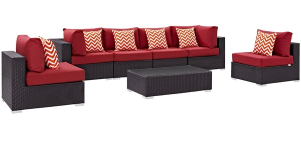 Modway Furniture Convene Espresso Red 7pc Outdoor Sectional EEI-2357-EXP-RED-SET