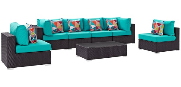Modway Furniture Convene Espresso Turquoise 7pc Outdoor Sectional EEI-2357-EXP-TRQ-SET