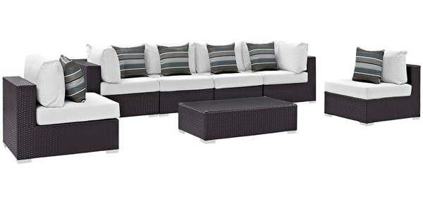 Modway Furniture Convene Espresso White 7pc Outdoor Sectional EEI-2357-EXP-WHI-SET