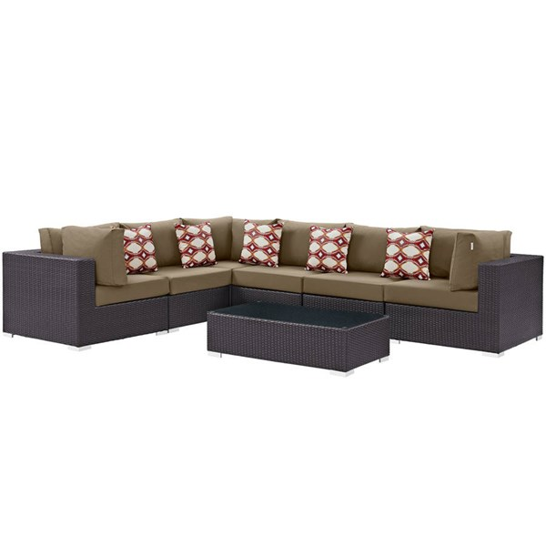 Modway Furniture Convene Espresso Mocha Fabric 7pc Outdoor Patio Sectional EEI-2361-EXP-MOC-SET