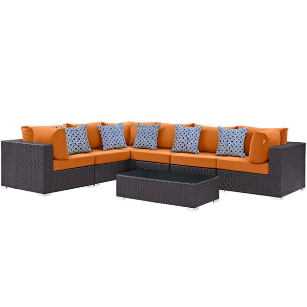 Modway Furniture Convene Espresso Orange Fabric 7pc Outdoor Patio Sectional EEI-2361-EXP-ORA-SET