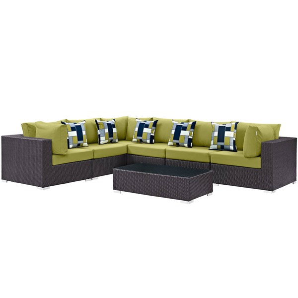 Modway Furniture Convene Espresso Peridot Fabric 7pc Outdoor Patio Sectional EEI-2361-EXP-PER-SET
