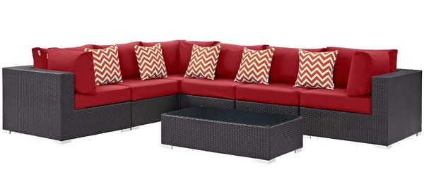 Modway Furniture Convene Espresso Red Fabric 7pc Outdoor Patio Sectional EEI-2361-EXP-RED-SET