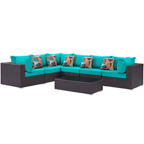 Modway Furniture Convene Espresso Turquoise Fabric 7pc Outdoor Patio Sectional EEI-2361-EXP-TRQ-SET