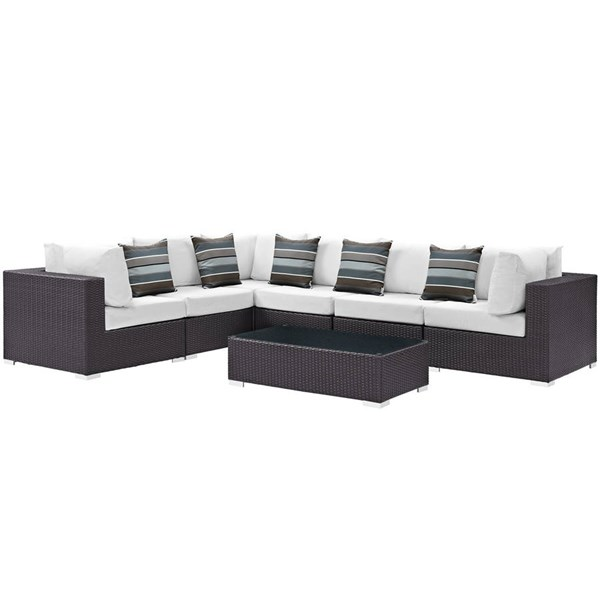 Modway Furniture Convene Espresso White Fabric 7pc Outdoor Patio Sectional EEI-2361-EXP-WHI-SET