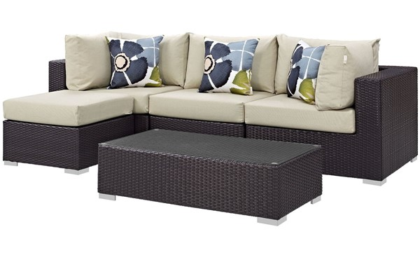 Modway Furniture Convene Espresso Beige 5pc Outdoor Sectional Set EEI-2362-EXP-BEI-SET