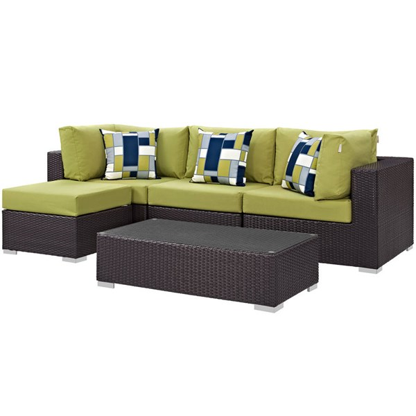 Modway Furniture Convene Espresso Peridot 5pc Outdoor Sectional Set EEI-2362-EXP-PER-SET