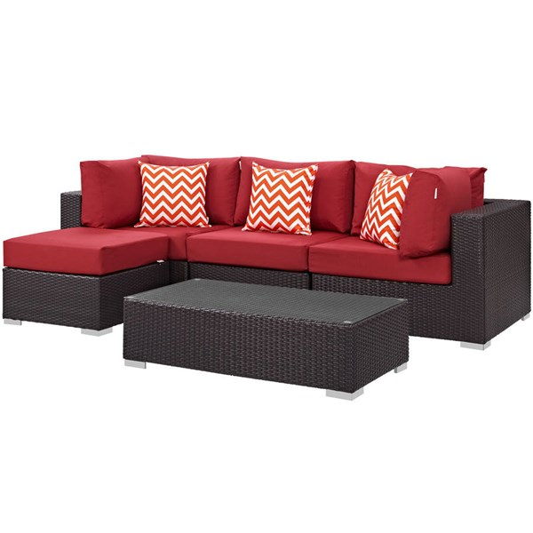 Modway Furniture Convene Espresso Red 5pc Outdoor Sectional Set EEI-2362-EXP-RED-SET