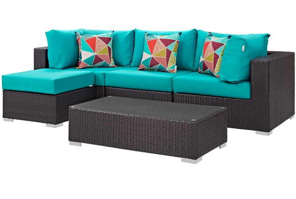 Modway Furniture Convene Espresso Turquoise 5pc Outdoor Sectional Set EEI-2362-EXP-TRQ-SET
