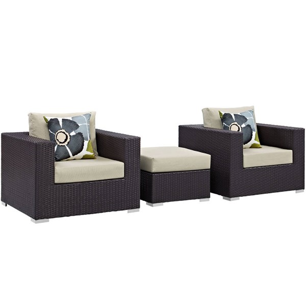 Modway Furniture Convene Espresso Beige 3pc Outdoor Patio Sofa Set EEI-2363-EXP-BEI-SET