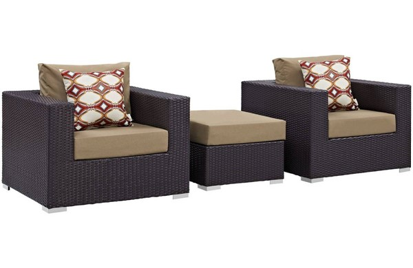 Modway Furniture Convene Espresso Mocha 3pc Outdoor Patio Sofa Set EEI-2363-EXP-MOC-SET