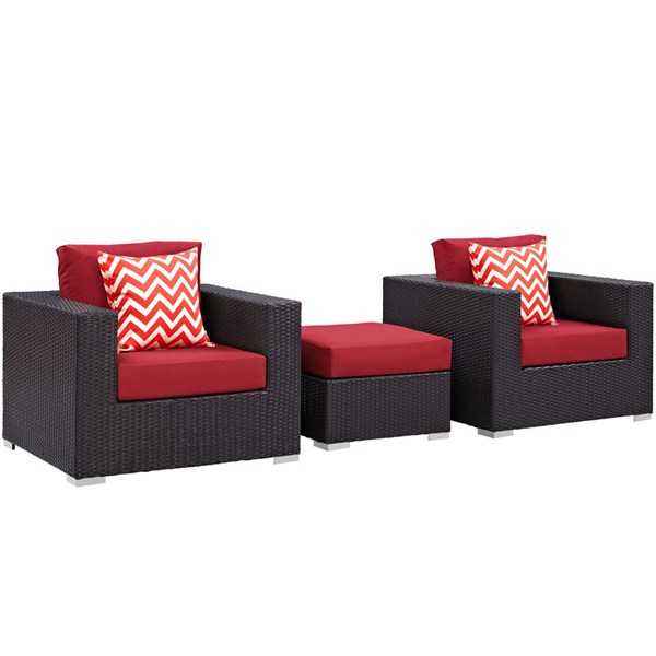 Modway Furniture Convene Espresso Red 3pc Outdoor Patio Sofa Set EEI-2363-EXP-RED-SET