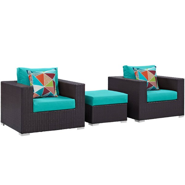 Modway Furniture Convene Espresso Turquoise 3pc Outdoor Patio Sofa Set EEI-2363-EXP-TRQ-SET