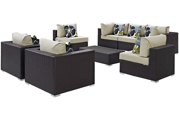 Modway Furniture Convene Espresso Beige 8pc Outdoor Patio Sectional EEI-2368-EXP-BEI-SET