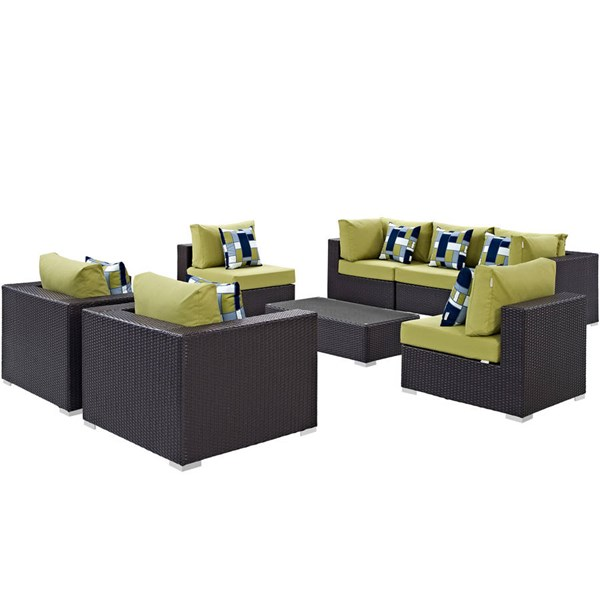 Modway Furniture Convene Espresso Peridot 8pc Outdoor Patio Sectional EEI-2368-EXP-PER-SET