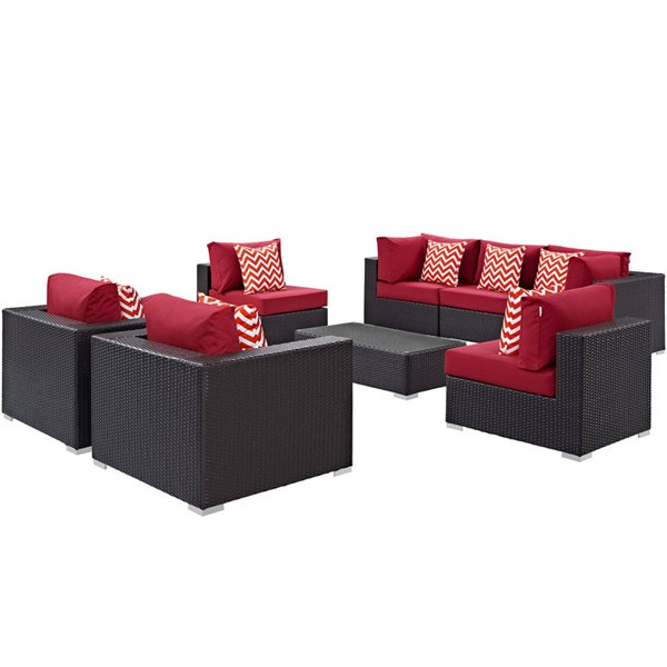 Modway Furniture Convene Espresso Red 8pc Outdoor Patio Sectional EEI-2368-EXP-RED-SET