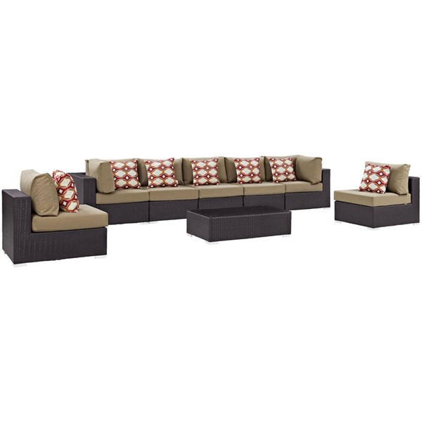 Modway Furniture Convene Espresso Mocha 8pc Outdoor Sectional EEI-2370-EXP-MOC-SET