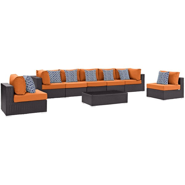 Modway Furniture Convene Espresso Orange 8pc Outdoor Sectional EEI-2370-EXP-ORA-SET
