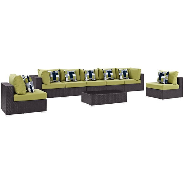 Modway Furniture Convene Espresso Peridot 8pc Outdoor Sectional EEI-2370-EXP-PER-SET