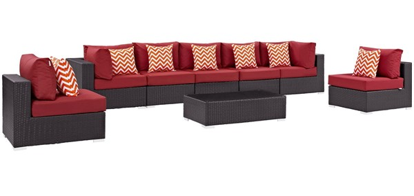 Modway Furniture Convene Espresso Red 8pc Outdoor Sectional EEI-2370-EXP-RED-SET