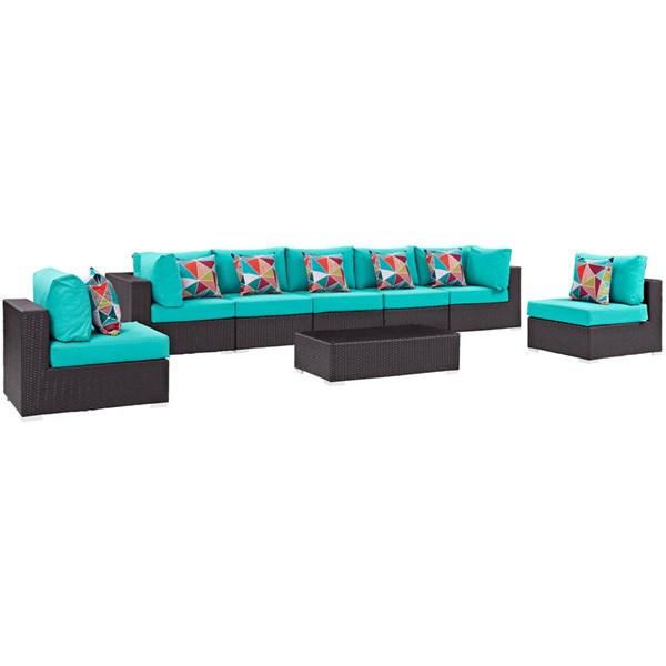 Modway Furniture Convene Espresso Turquoise 8pc Outdoor Sectional EEI-2370-EXP-TRQ-SET