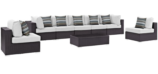 Modway Furniture Convene Espresso White 8pc Outdoor Sectional EEI-2370-EXP-WHI-SET