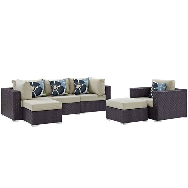 Modway Furniture Convene Espresso Beige 6pc Outdoor Patio Sectional EEI-2372-EXP-BEI-SET