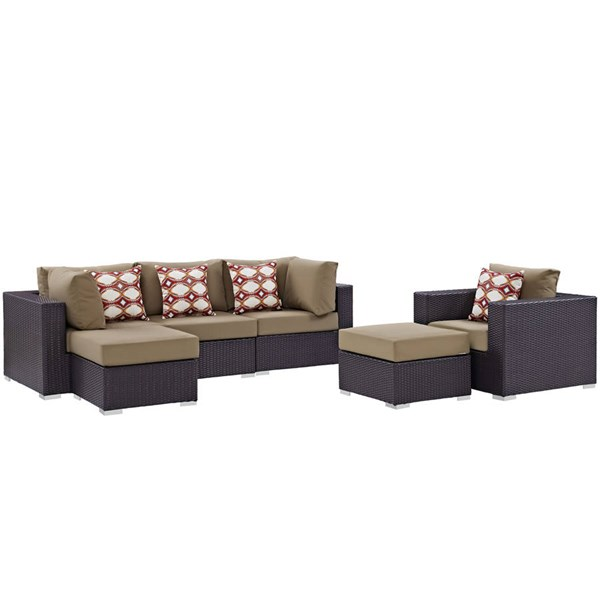 Modway Furniture Convene Espresso Mocha 6pc Outdoor Patio Sectional EEI-2372-EXP-MOC-SET