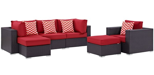 Modway Furniture Convene Espresso Red 6pc Outdoor Patio Sectional EEI-2372-EXP-RED-SET